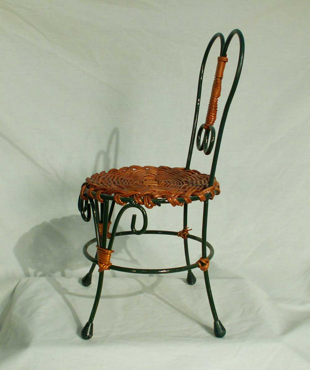 Doll Teddy Bear Chair Green Wire Amp Wicker Ice Cream Parlor