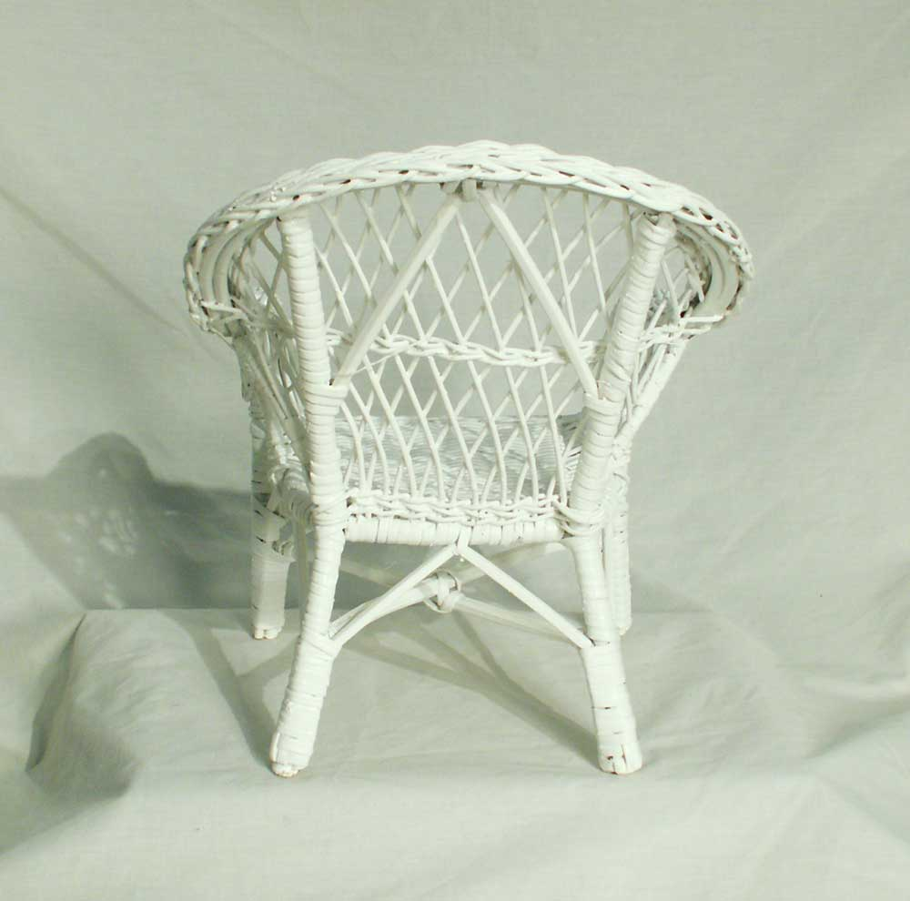 Doll Teddy Bear White Wicker Arm Chair 1 3 Scale Bfe1651