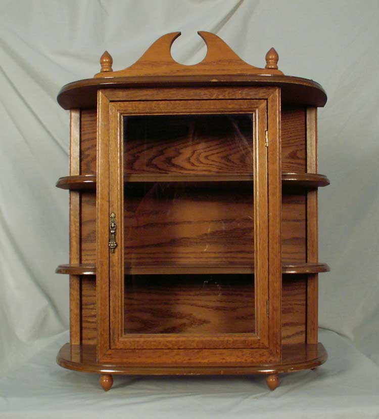 Oak Hanging Wall Mounted Curio Cabinet With Glass Door & 2