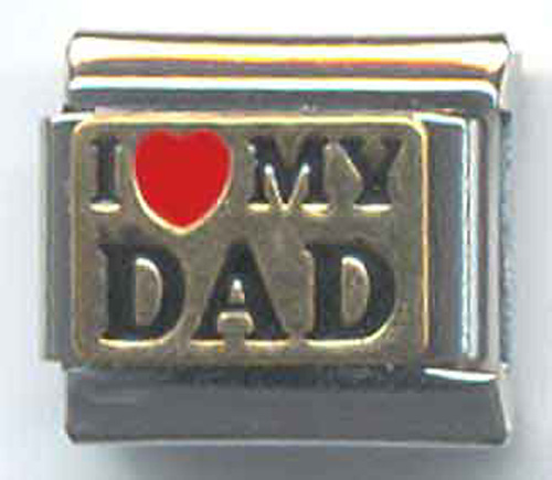"UBERRY Brass ""I love MY DAD"" with Red and Black Enamel"