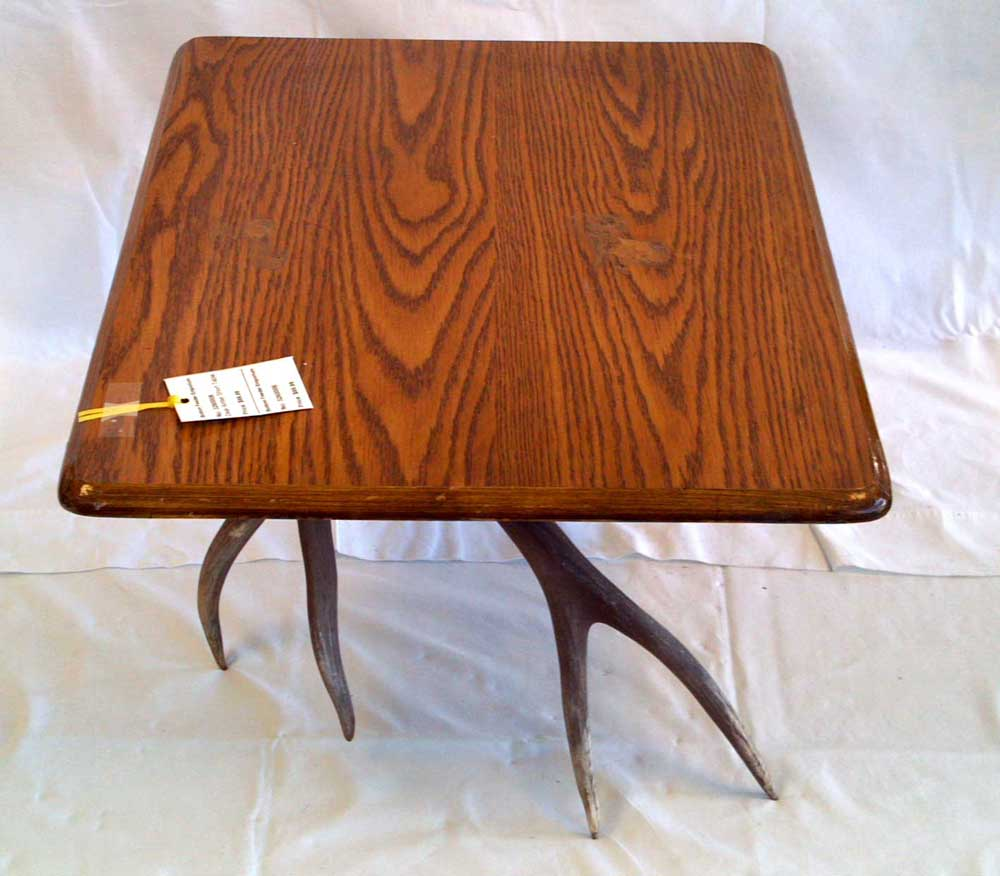 Rustic antler furniture small coffee or lap table wood top for Short table legs