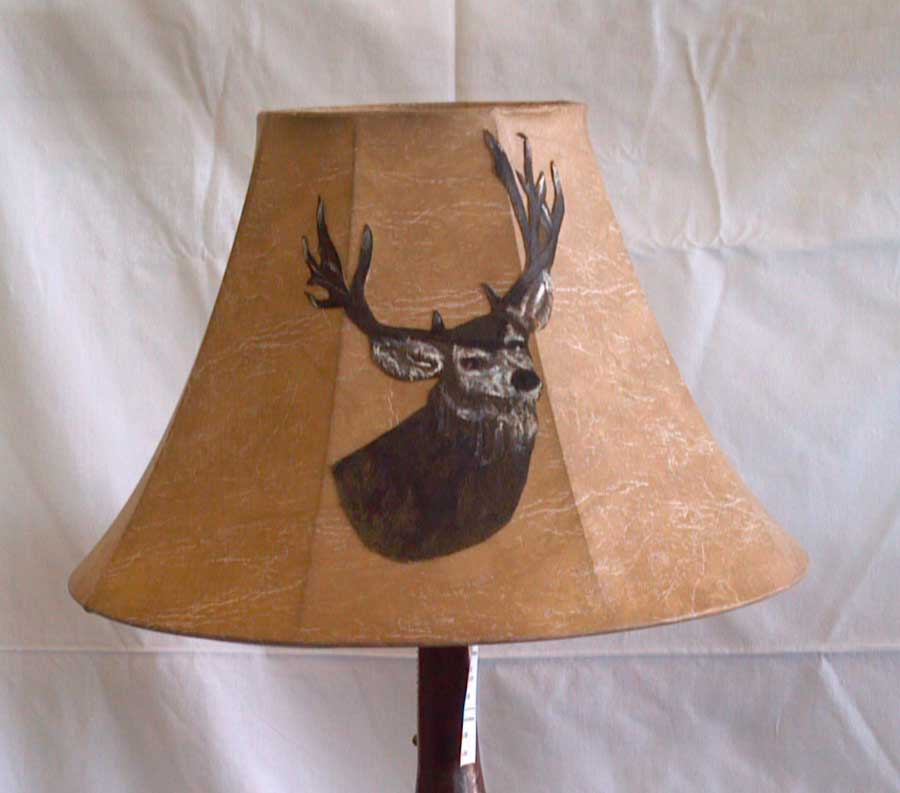 rustic faux leather lamp shade hand painted deer buck image on leather. Black Bedroom Furniture Sets. Home Design Ideas